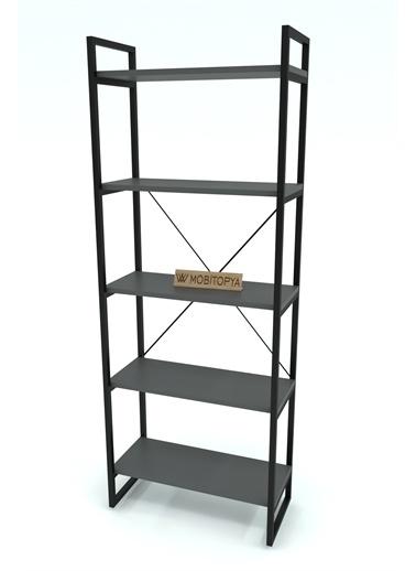 Mobitopya Nilamu Antrasit  65 cm Kitaplık, Metal Aksamlı, Organizer, Ofis, Ev, 5 Raflı Kitaplık Antrasit